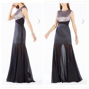 BCBGMaxazria Odeya Metallic Jacquard Sheer Gown